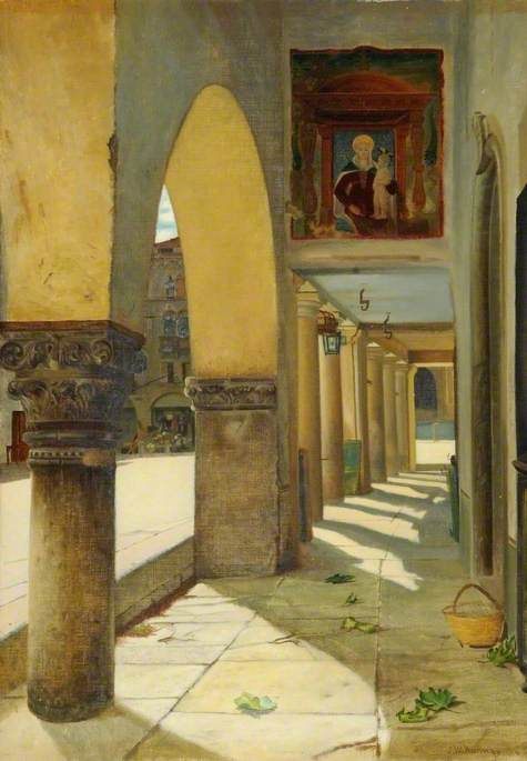 Colonnaded Street Scene, Serravalle, Italy