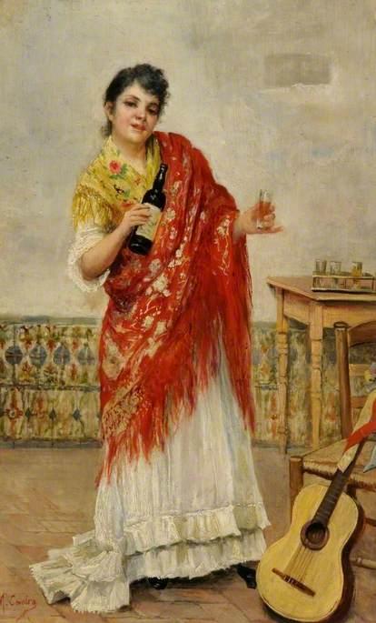 Spanish Woman Drinking Sherry