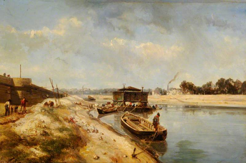 River Scene with Barges and Figures