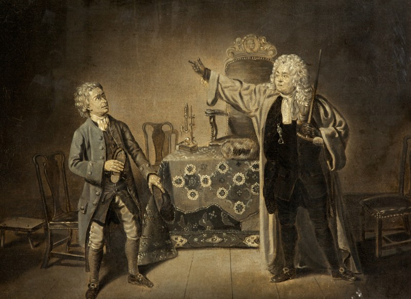 S. Foote and T. Weston in 'The Devil Upon Two Sticks' by Foote, Haymarket Theatre, 1768