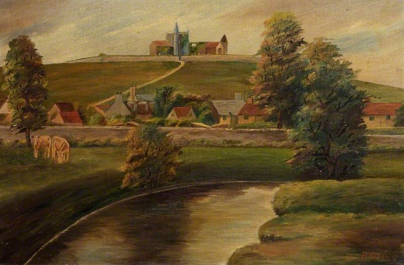Pastoral Scene, Cows and Houses