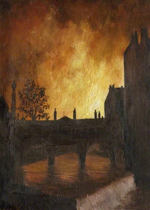 Fires Seen over Pulteney Bridge During the Blitz