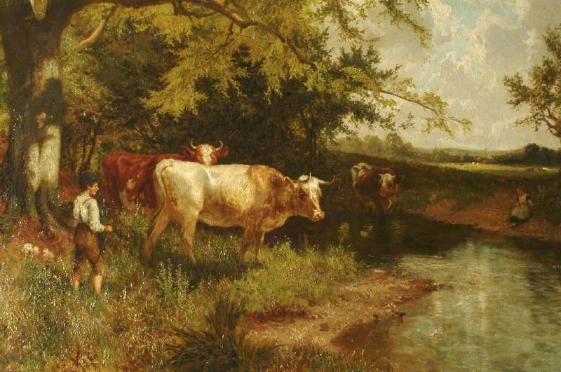 River Mole, Dorking with Cows and Two Figures, Son Robert and Daughter Margaret