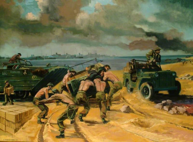 DUKWs Unloading Supplies, D-Day, 6 June 1944