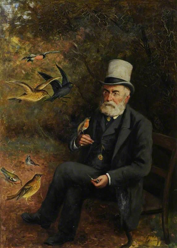 Old Man Feeding Birds