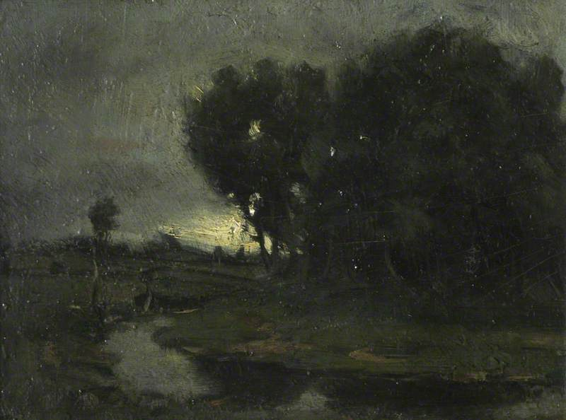 Moonlit River Landscape