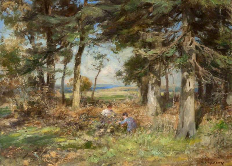 Firwood with Children Picking Brambles