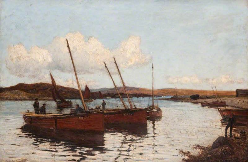 River Scene with Fishing Boats