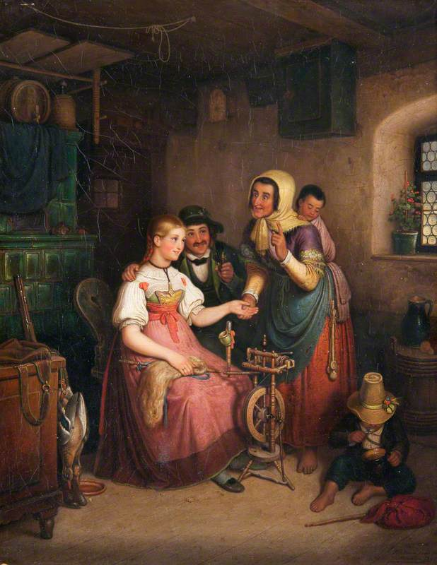 The Fortune Teller (A Family Group at a Spinning Wheel)