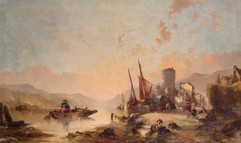 Landscape with Boats and Tower