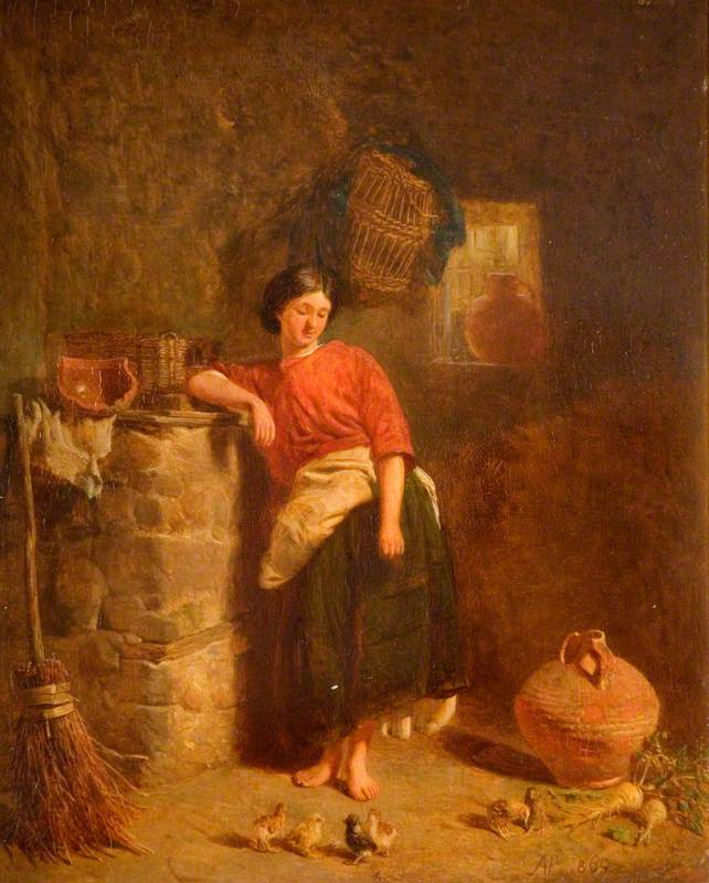 A Woman Watching Chickens