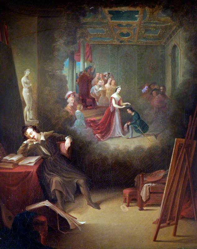 A Painter Dreaming of Queen Victoria's Patronage of the Arts (?)