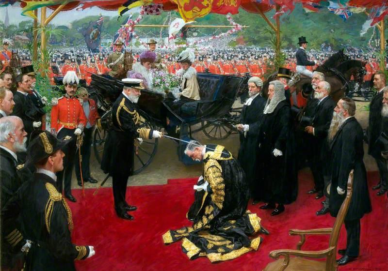 Knighting of Sir William Smith Crossman, Lord Mayor of Cardiff, by Edward VII, 13th July 1907