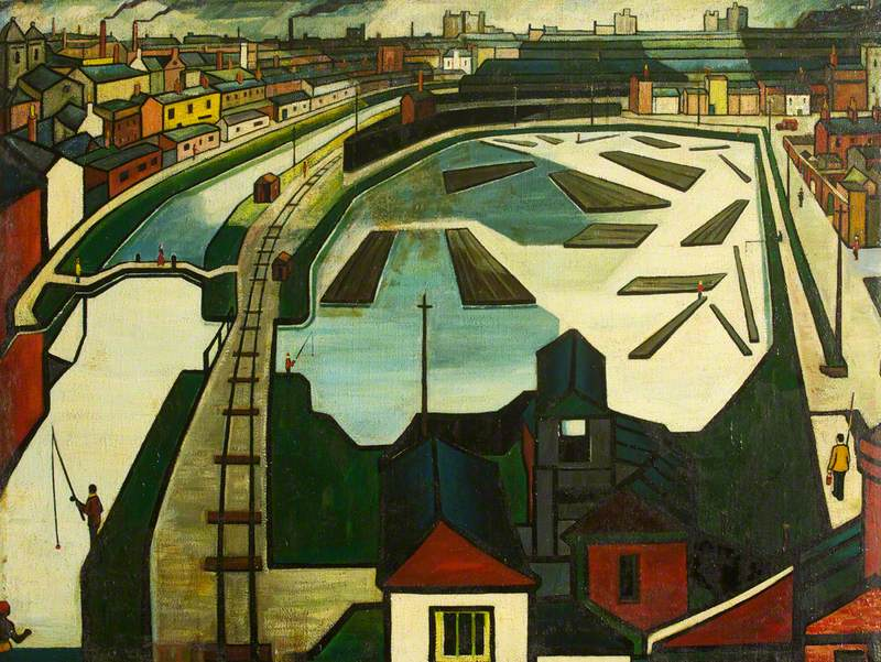 Cubist Quayside and Railway Industrial Landscape with Figures