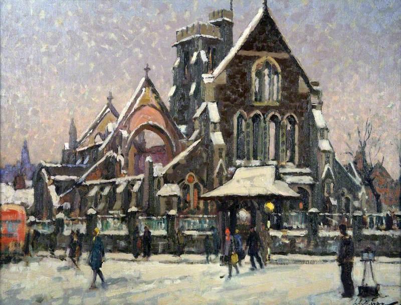 Snow, 1945, St Mary's Church, Swansea