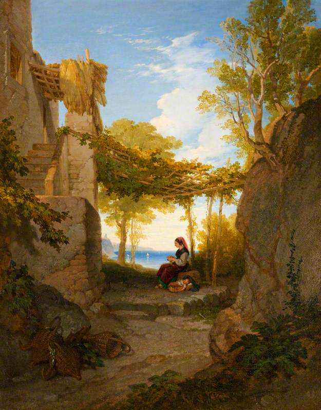 A Mother and Child beneath an Arbour at Evening