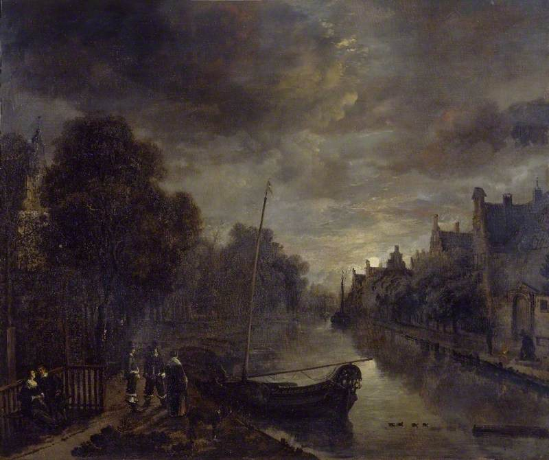 A Canal in a Dutch Town by Moonlight