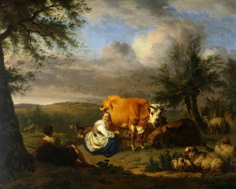 Landscape: Woman Milking a Cow