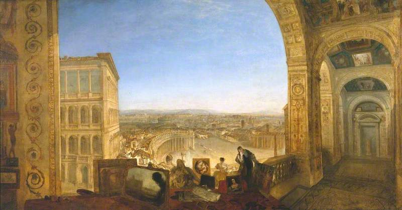 Rome, from the Vatican. Raffaelle, Accompanied by La Fornarina, Preparing his Pictures for the Decoration of the Loggia