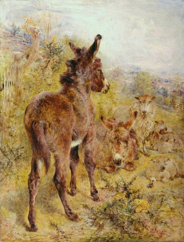 Donkeys and Sheep in a Landscape