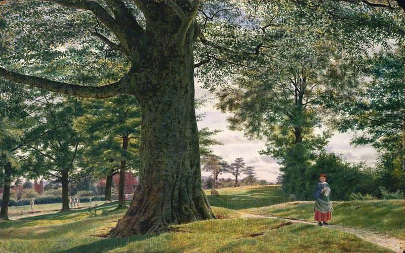 A Girl by a Beech Tree in a Landscape