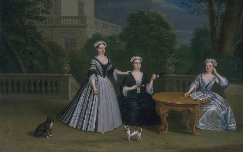 Three Ladies of the Leman Family and their Dogs on a Terrace