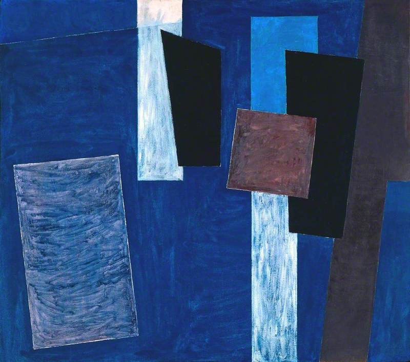 Composition, Blue, Black and Brown