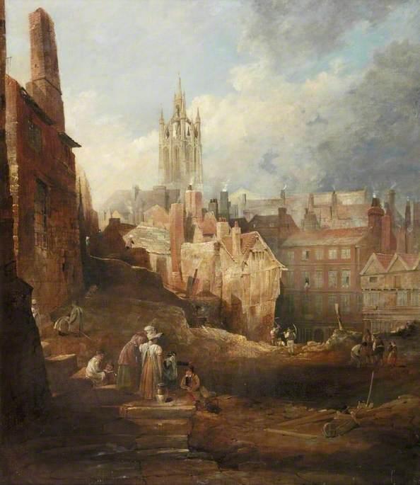Excavations for the High Level Bridge, Newcastle upon Tyne