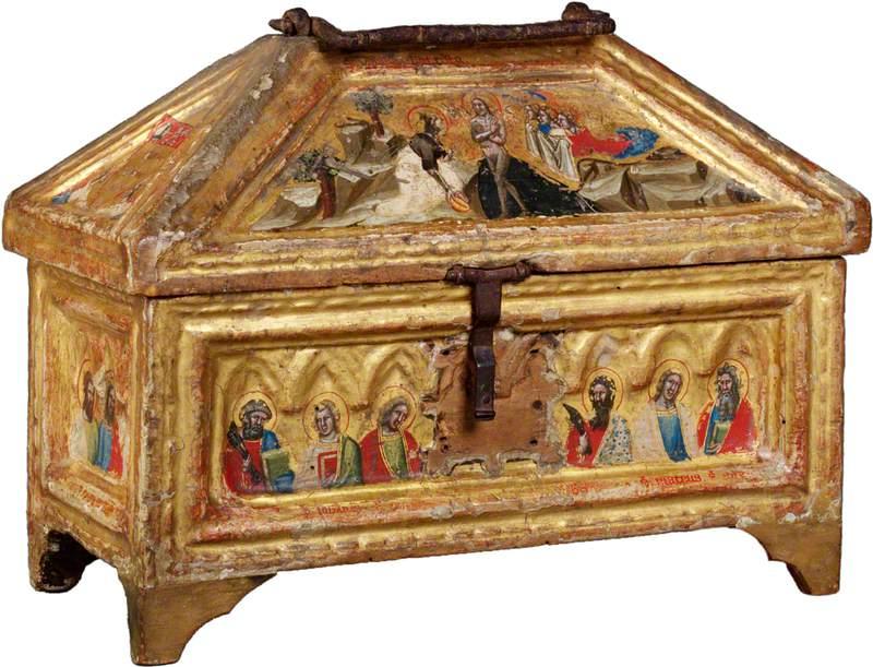The Baptism of Christ (casket lid, front); Saint Peter, Saint John the Evangelist, Saint Matthew and Two Unknown Saints (casket, front)