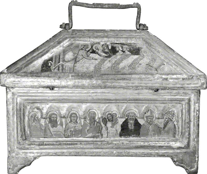 The Virgin and Saint Elizabeth with the Infant Saint John (casket lid, back); The Four Evangelists with Saint Christopher, Saint Anthony Abbot, Saint Liberius (casket, back)