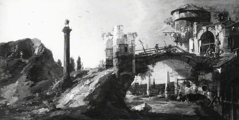 Capriccio: Ruined Bridge with Figures