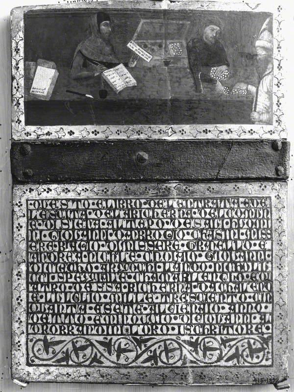 The Camarlingo Giovanni di Ambrogio Casini Making a Payment to a Claimant, with His Scrivener, Minoccio di Giovanni Aldobrandini