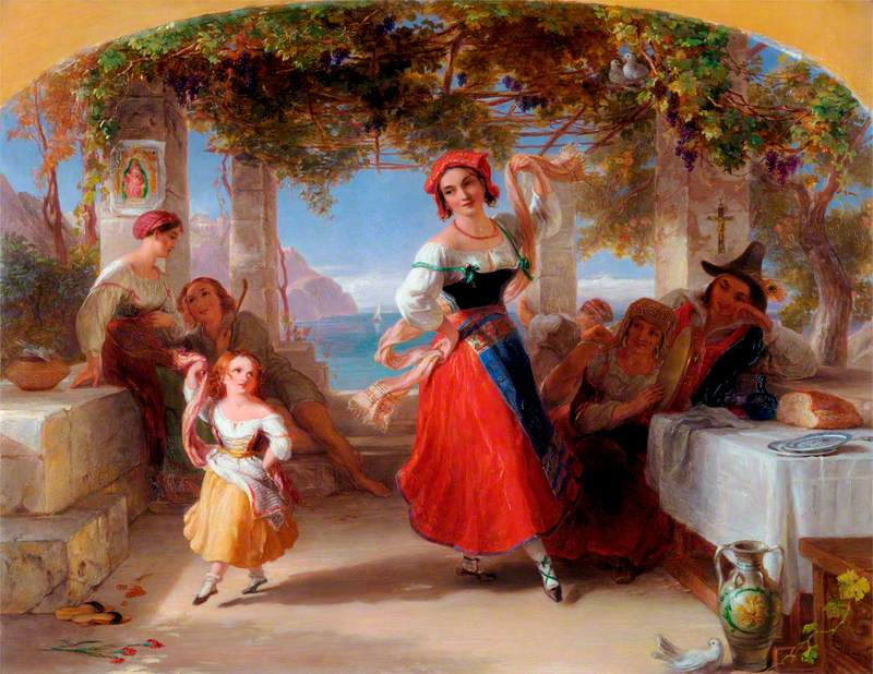An Italian Mother Teaching Her Child the Tarantella