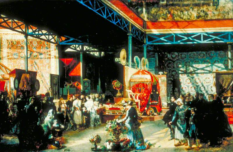 Queen Victoria, Prince Albert and Three of Their Children at the Indian Pavilion of the Great Exhibition