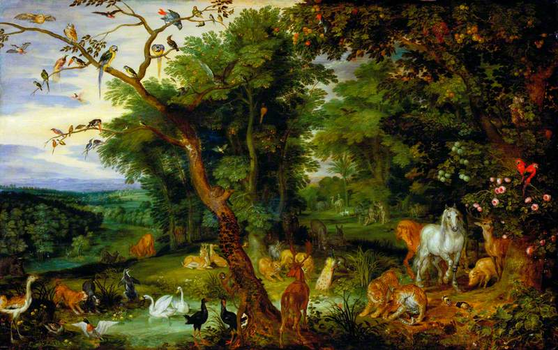 The Garden of Eden with the Temptation in the Background