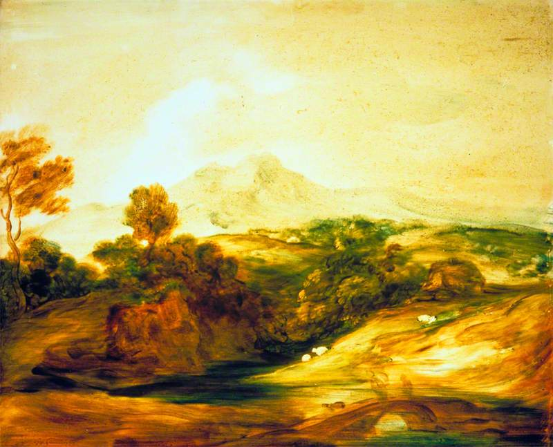 Wooded River Landscape with Figures on a Bridge, a Cottage, Sheep and Distant Mountains