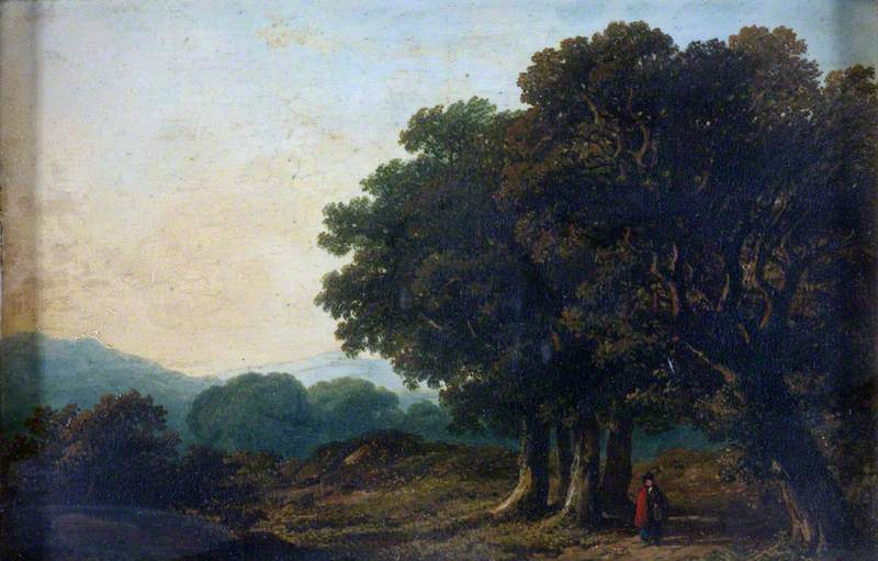 Landscape with Trees in the Foreground and Distant Hills