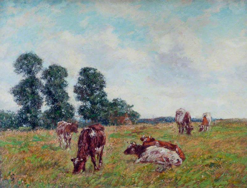 Meadow Scene with Cattle and Trees