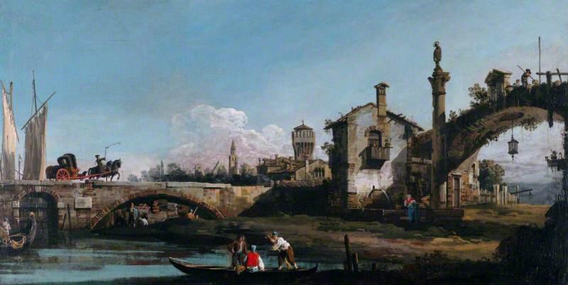 Capriccio with Two Bridges and Figures