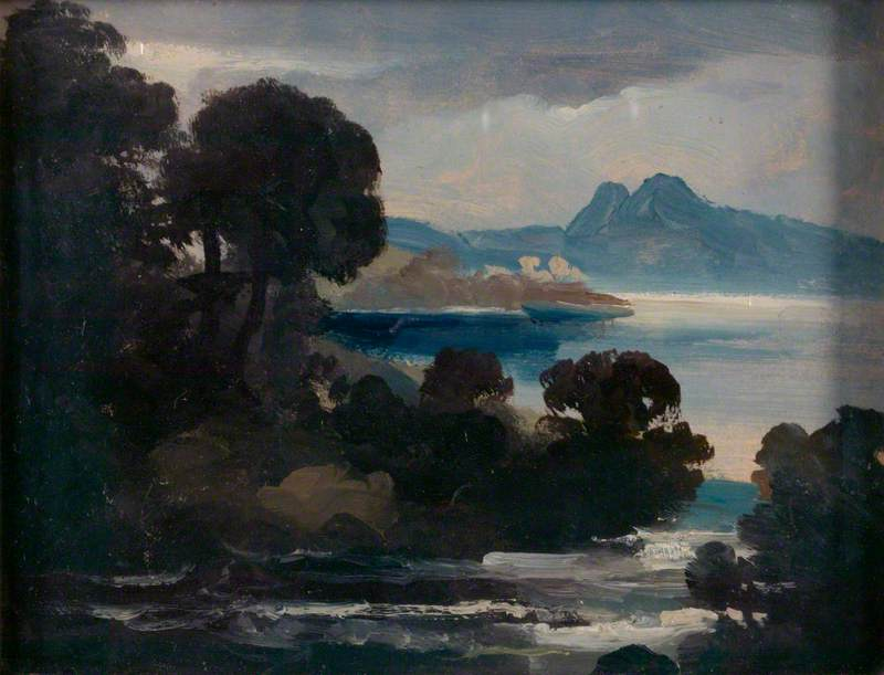 Landscape with a River, a Lake and Mountains (possibly Castle Urquhart on Loch Ness)