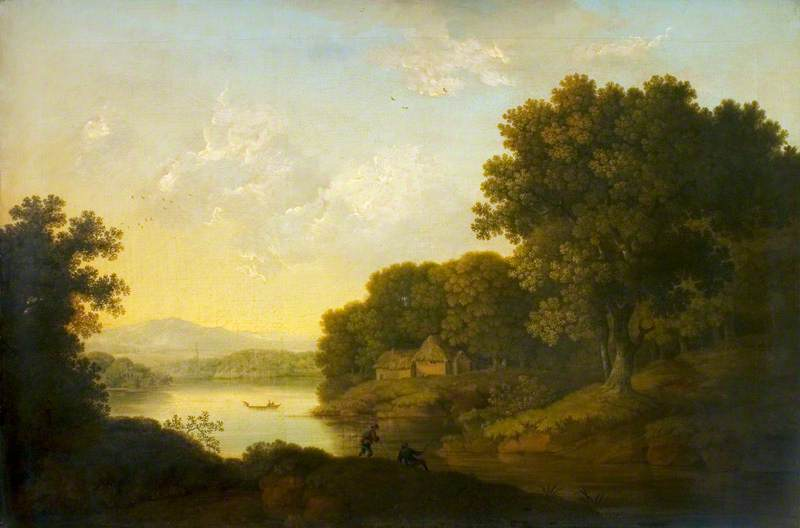 Lake Scene with a Boat and Anglers