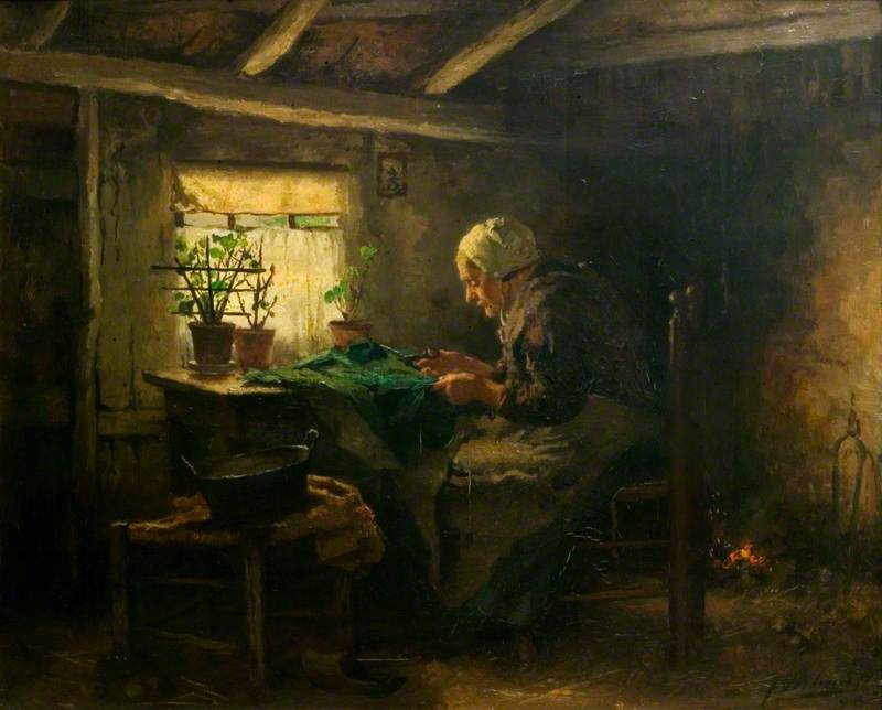 Interior with an Old Lady Seated and Cutting Cloth
