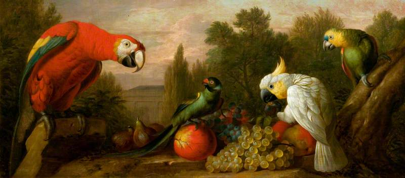 Composition with Parrots and Fruit