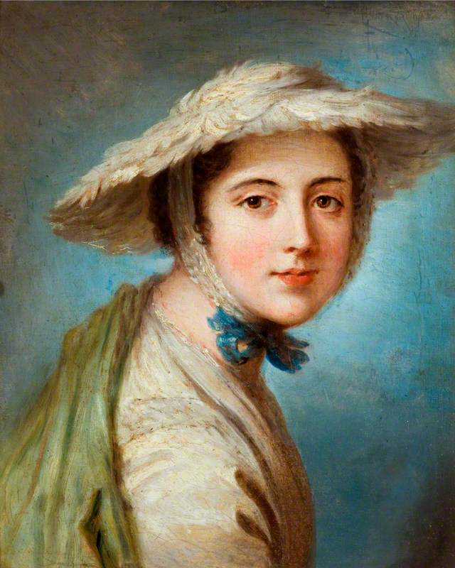 Head of a Girl Wearing a White Hat