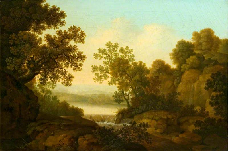 Landscape with a Waterfall and Anglers