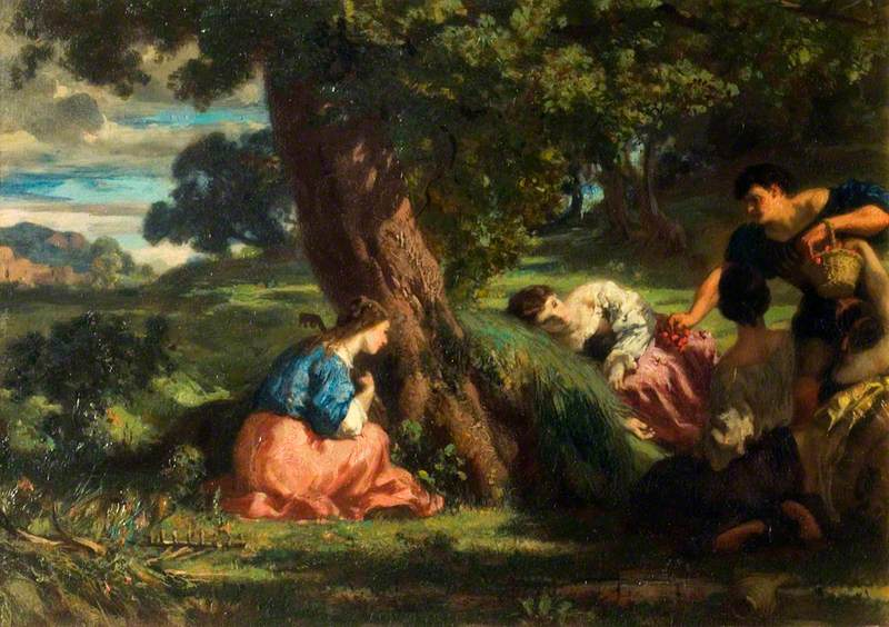 Cherries: A Group of Young Women in a Landscape, One of Them Holding a Basket of Cherries