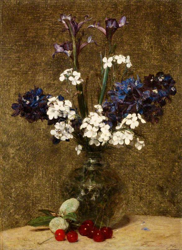 Flowers: Iris and Hyacinths, with Cherries and Almonds on the Table
