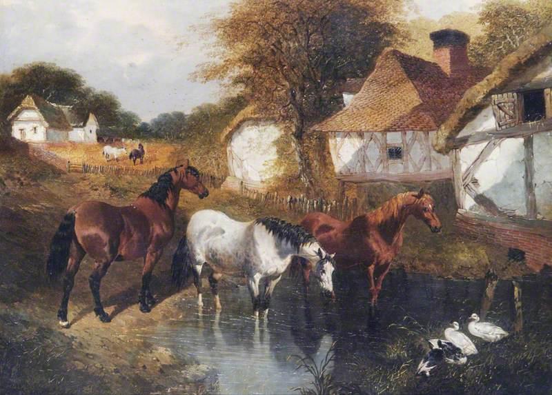 Horses in a Corner of a Farm