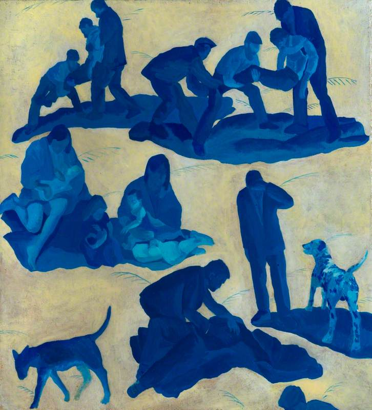 Small Blue Pietà with Dogs