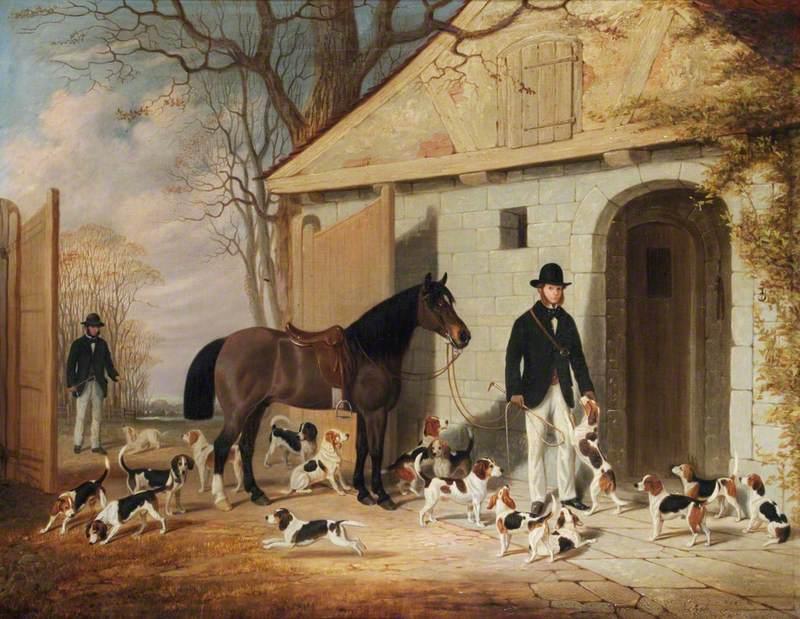 Mr George Charles Benn and Mr Anthony Staresmore Benn with Their Beagles at the Kennels, Benn Fields, Warwickshire